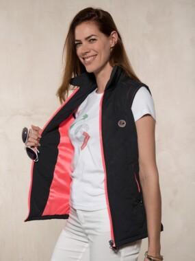 Sleeveless Jacket Black Pink